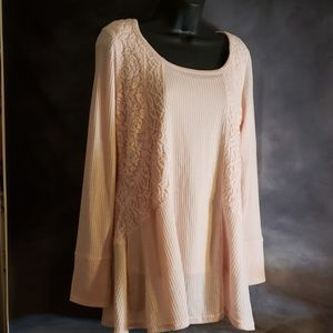 Pink thermal & lace tunic by Rxb
